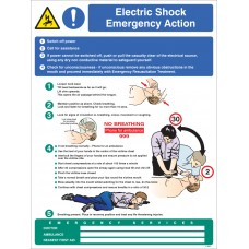 Electric Shock Emergency Action Wall Panel - 450 x 600mm