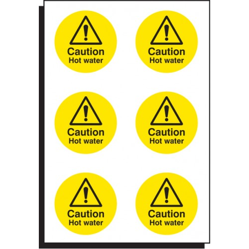 6 x Caution - Hot Water - 65mm Dia.