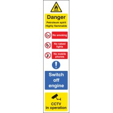 Danger Petroleum Spirit (Multi-Message) - Roll of 100 400mm