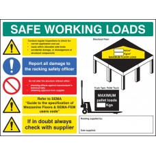 Safe Working Load - Mezzanine Floor Sign