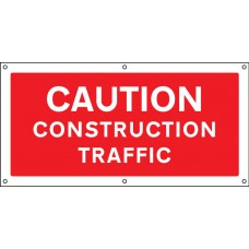 Caution - Construction Traffic - Banner with Eyelets