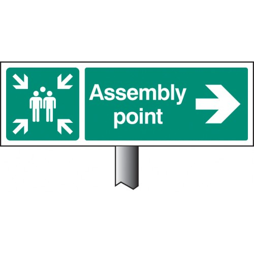 Assembly Point Right - White Powder Coated Aluminium 450 x 150mm (800mm Post)