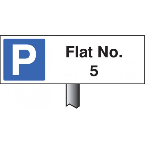 Flat No. (Please Specify Required No) - White Powder Coated Aluminium - 450 x 150mm (800mm Post)