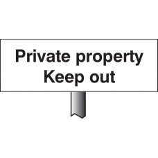 Private Property Keep Out - White Powder Coated Aluminium - 450 x 150mm