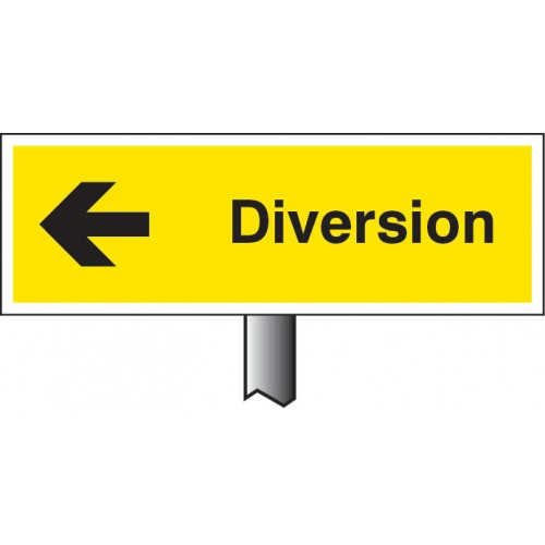 Diversion Left - White Powder Coated Aluminium - 450 x 150mm