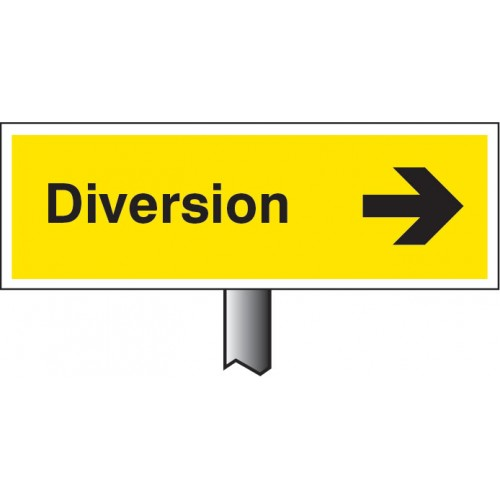 Diversion Right - White Powder Coated Aluminium - 450 x 150mm