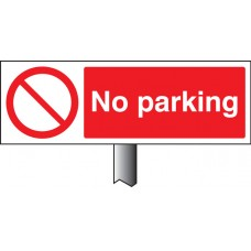 No Parking - White Powder Coated Aluminium 450 x 150mm
