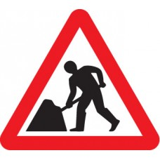 Fold Up Sign - Road Works with Text Variant - 750mm Triangle