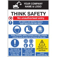 Site Safety Board with Logo - 900 x 1200mm
