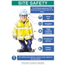 PPE Requirement Sign (Hat,Goggles,Hivis,Gloves,Boots)
