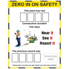 Zero in on Safety Accident Board with 2 Sets of Numbers with Logo 700x900