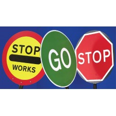 Stop Works Lollipop Sign 450mm Dia, 1500mm Pole