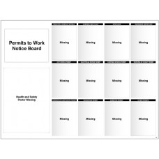 Site Notice - Board with Doc Wallets (Permits to Work) - 5mm PVC - 1430 x 1075mm