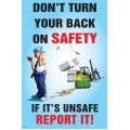 Don?t Turn Your Back on Safety Poster