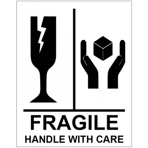 Roll of 250 Fragile Handle with Care Labels - 75 x 100mm
