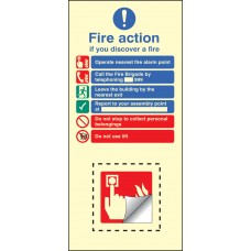 Call Point Fire Action Set - Photoluminescent Rigid PVC