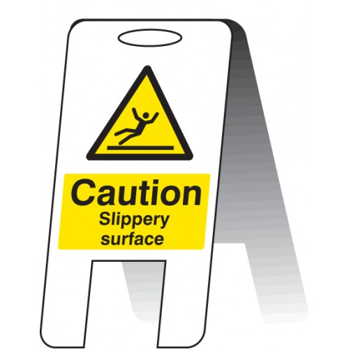 Caution - Slippery Surface - Self Standing Folding Sign