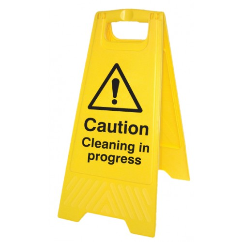 Caution - Cleaning in Progress - Self Standing Folding Sign