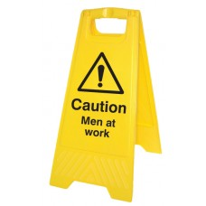 Caution - Men At Work - Self Standing Folding Sign