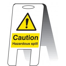 Caution - Hazardous Spill - Self Standing Folding Sign