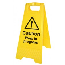 Caution - Work in Progress - Self Standing Folding Sign