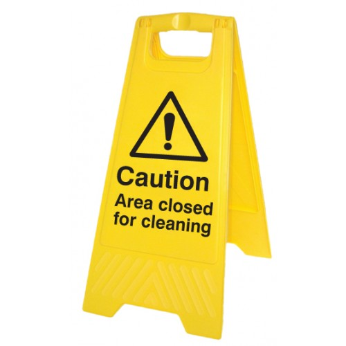 Caution - Area Closed for Cleaning - Self Standing Folding Sign