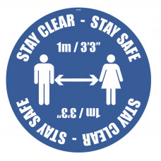 Stay Clear, Stay Safe Floor Graphic - 1m / 2m / Generic Distance Options
