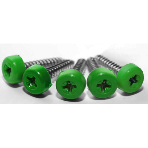 Green Poly Top Screws (Pack 12)