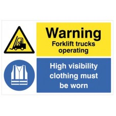 Floor Graphic - Warning - Forklifts Operating - Hi-vis clothing must be worn