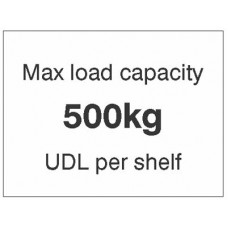 Max load Capacity 500kg UDL Per Shelf