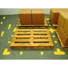 Yellow Floor Signal Markers (Feet) - 300 x 100mm (5 Right, 5 Left) (Pack of 10)
