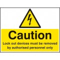 Caution - Lockout Devices Must Be Removed By Authorised Personnel Only