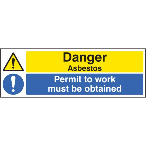 Danger - Asbestos Permit to Work Must Be Obtained