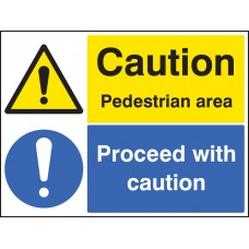 Caution - Pedestrian Area Proceed with Caution -
