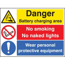 Battery Charging Area, Wear PPE, No Smoking, No Naked Lights