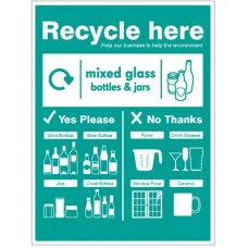 Mixed glass bottles & jars - WRAP Recycle here sign
