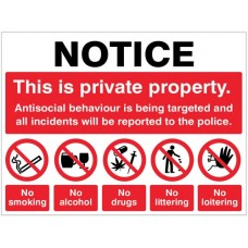 Notice - This is private property Antisocial behaviour is being targeted