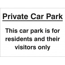 Private Car Park/Residents/Visitors Only