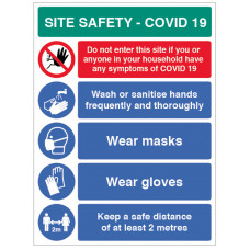 Coronavirus Site Safety Board with 5 Messages