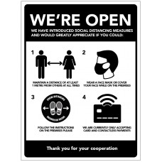 We're Open - Social Distancing Measures
